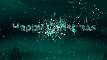 changing lights : Animation of the words Happy CHristmas written in green over green fireworks Stock Footage