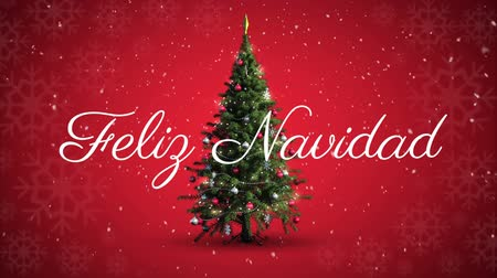 Навидад : Animation of the words Feliz Navidad written in white over rotating Christmas tree and red background