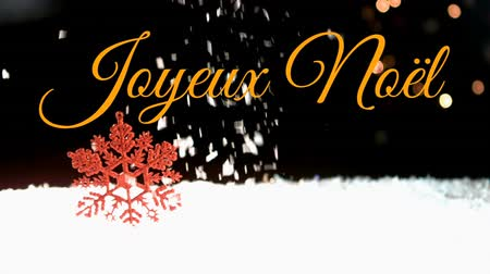 changing lights : Animation of the words Joyeux Noᅢᆱl written in orange over snow falling in the background