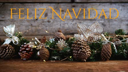 Навидад : Animation of the words Feliz Navidad written in orange with Christmas decorations in the background Стоковые видеозаписи