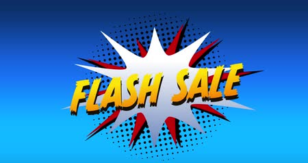 terms : Animation of the words Flash Sale in yellow letters on a white explosion on blue background 4k