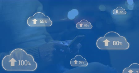 one hundred : Animation of blue clouds with arrows pointing up and percent increasing from zero to one hundred with young man using a smartphone in the background 4k