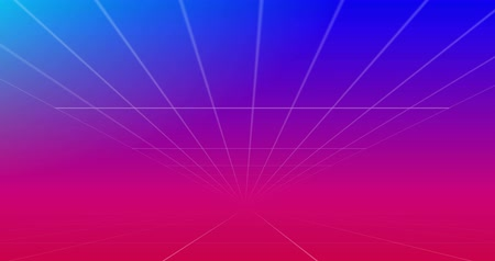 párhuzamos : Animation of moving white grid lines on blue to pink background 4k