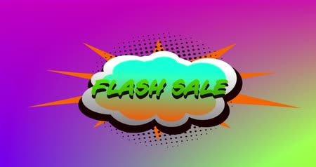 nineties : Animation of the words Flash Sale in green letters on a green speech bubble on purple to green background 4k
