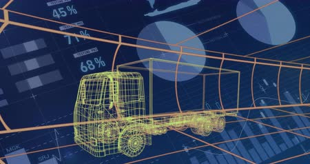 gelişme : Animation of 3d technical drawing of a truck in yellow, with moving grid and data processing in the background 4k