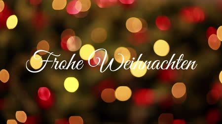 seasons changing : Animation of the words Frohe Weihnachten written in white over flickering lights in the background Stock Footage