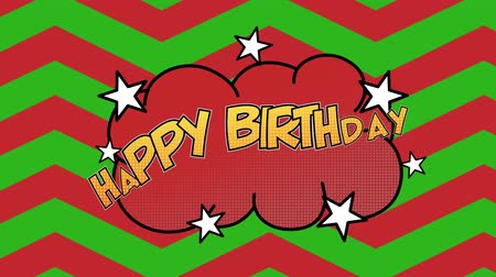 terms : Animation of the words Happy Birthday in yellow letters on red speech bubble with stars and zig zag patterned background