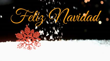 changing lights : Animation of the words Feliz Navidad written in orange over snow falling in the background