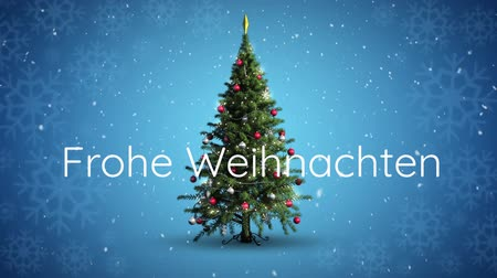 changing lights : Animation of the words Frohe Weihnachten written in white over Christmas tree on blue background