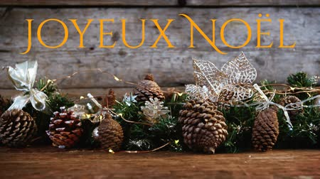 dennenappel : Animation of the words Joyeux Noᅢᆱl written in orange with Christmas decorations in the background Stockvideo