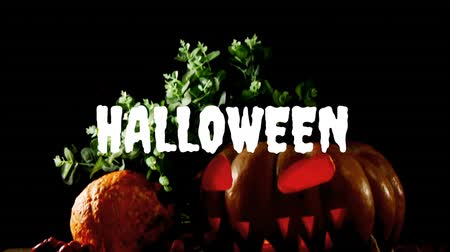 oco : Animation of the word Halloween written in white with a carved hollow pumpkin glowing with a candle inside it and autumn leaves against a dark background Stock Footage