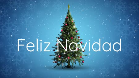 texto : Animation of the words Feliz Navidad written in white with Christmas tree and snowfall on blue background