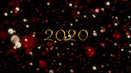 mille : Animation of number 2020 written in gold over glowing moving lights on black background