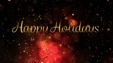natale : Animation of the words Happy Holidays written in gold over flickering lights