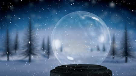 snow globe : Animation of an empty snow globe, with countryside and trees with falling snow against a night sky in the background