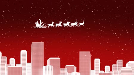 reno : Animation of a white silhouette of Santa Claus in sleigh being pulled by reindeers over city in winter at night on red background