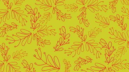 wrapping paper : Animation of Christmas pattern with leaves, in red and yellow Stock Footage