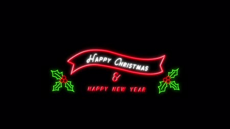 падуб : Animation of flickering words Happy Christmas & Happy New Year neon sign in red and white in a red banner with holly and berries on black background