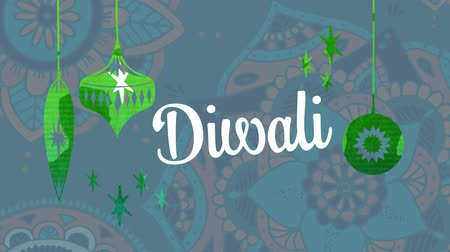 espírito : Animation of the word Diwali written in white letters with Christmas baubles drawn in green, in front of floral pattern