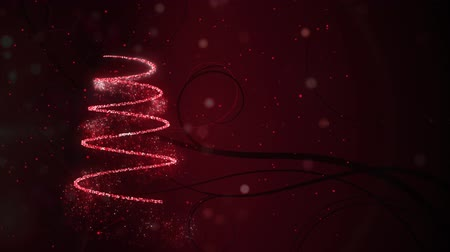 bin : Animation of number 2019 and Christmas tree drawn in a sparkling red line with snowfall in the background Stok Video