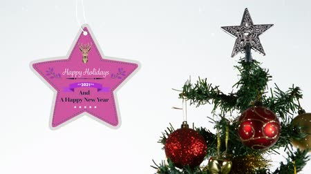 sob : Animation of the words Happy Holidays and A Happy New Year 2021 written on a star shaped pink label decorated with reindeer with a Christmas tree in the background