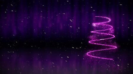 сочельник : Animation of Christmas tree drawn in a sparkling purple line with snowfall in the background