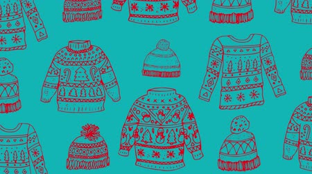 father christmas : Animation of Christmas pattern with hats and jumpers, in blue and red