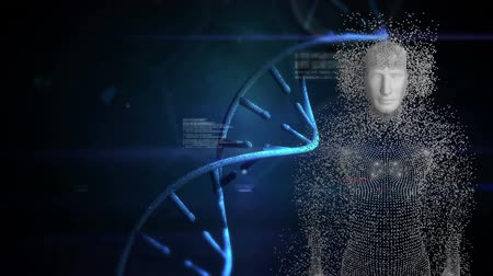 criminology : Animation of human body formed from grey particles with DNA strand with the word Guilty and data processing in the foreground