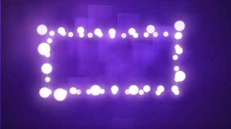 négyszögletes : Animation of a rectangular frame of glowing fairy lights on purple background