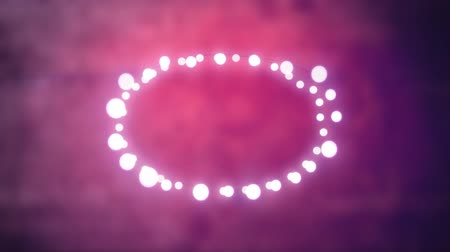 oval : Animation of a Christmas decoration with an oval of glowing fairy lights on a pink to purple background