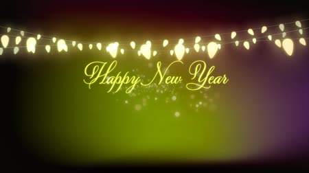 мерцающий : Animation of the words Happy New Year with a glowing string of fairy lights and fireworks with on green background