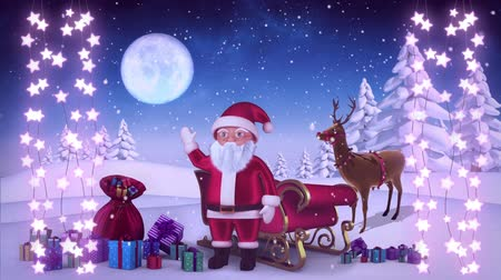 reno : Animation of a Christmas decoration of strings of glowing star shaped fairy lights with Santa Claus, Christmas tree and moon in the background