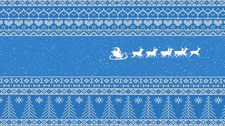 desenli : Animation of a white silhouette of Santa Claus in sleigh being pulled by reindeers on blue background with patterned borders