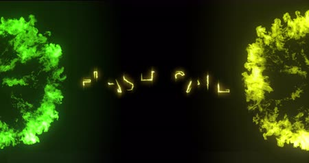 nineties : Animation of the words Flash Sale in yellow letters with green and yellow explosions on black background 4k Stock Footage