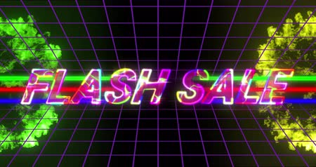 flash sale : Animation of the words Flash Sale in rainbow coloured letters with green and yellow explosions, multi coloured lines on grid and black background 4k