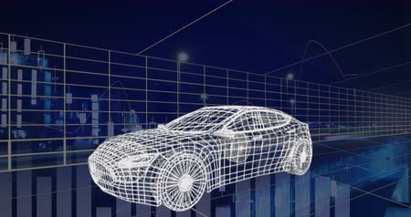 gelişme : Animation of 3d technical drawing of a car in white, with data processing and moving grid on blue background 4k Stok Video