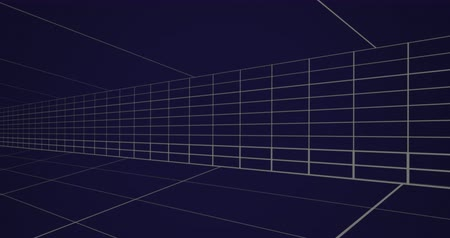 párhuzamos : Animation of moving white grid lines on dark blue background 4k