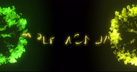 list : Animation of the words Cyber Monday in yellow letters with green and yellow explosions on black background 4k