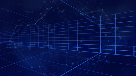 párhuzamos : Animation of moving blue grid lines and network of connections on dark blue background
