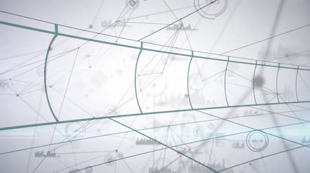 grafika : Animation of moving green grid lines and network of connections on white background