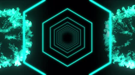 hexagon glow : Animation of two blue explosions with flickering blue hexagons in the middle on black background Stock Footage