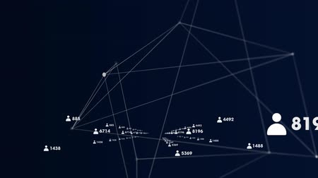 levelezési : Animation of network of connections with white icons and numbers and connecting lines on dark blue background