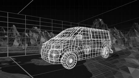 mecânica : Animation of 3d technical drawing of a van in white, with moving topographic map of mountains and grid in the background Stock Footage