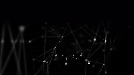 levelezési : Animation of a network of connections with white icons and connecting points and lines on black background
