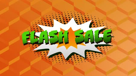 flash sale : Animation of the words Flash Sale in green letters on a white explosion on an orange background Stock Footage