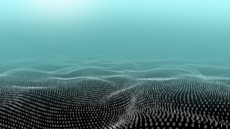 undulating : Animation of a moving landscape of binary coding against a hazy blue sky background