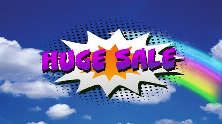 nineties : Animation of the words Huge Sale in purple letters on a white explosion with rainbow on blue background