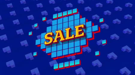 сокращение : Animation of the word Sale in yellow letters on blue squares and with abstract shapes on blue background