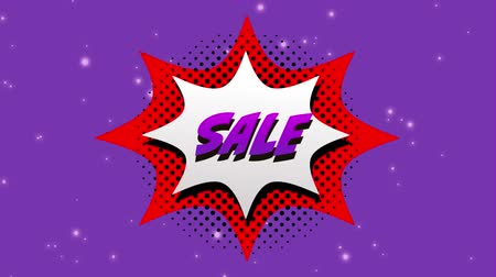 сокращение : Animation of the word Sale in purple letters on a white explosion on purple background