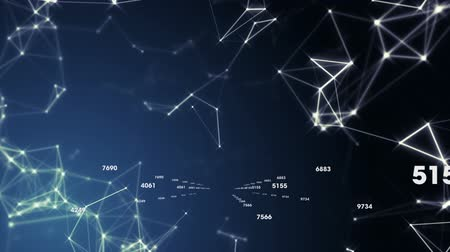 levelezési : Animation of a network of connections with white icons and lines on dark blue background